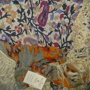 New rising tide brand fringe patterned scarf
